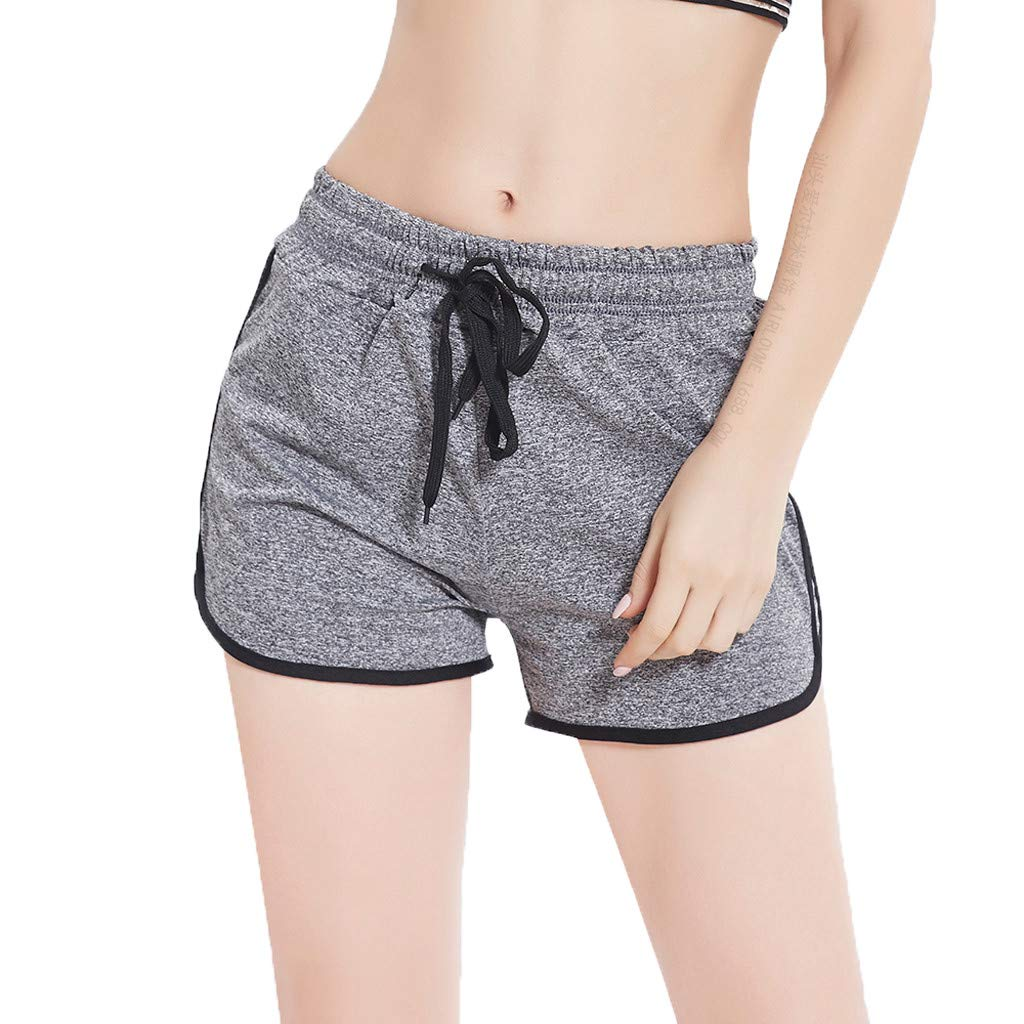 Sunyastor Women's Summer Dolphin Running Workout Shorts Stripe Fitness Fast-Drying Fitness Short Pant Cotton Shorts Gray