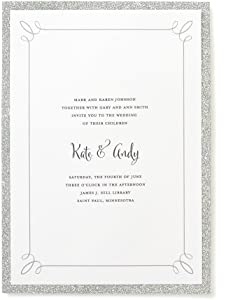 "Gartner Studios Silver Glitter Print At Home Wedding Invitation Kit, 5"" x 7"", 25 Count, Includes Envelopes"