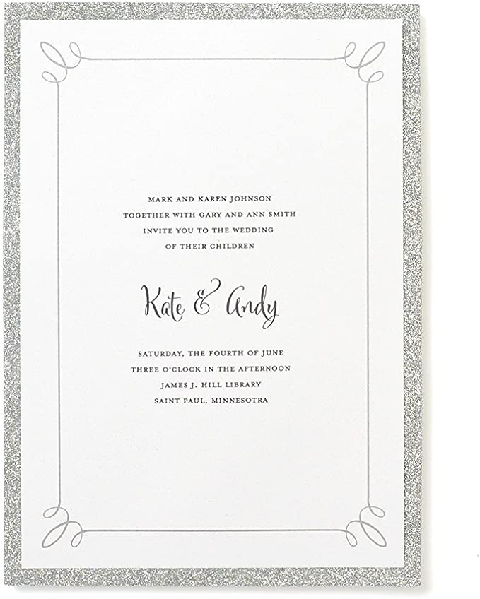 Amazon Com Gartner Studios Silver Glitter Print At Home Wedding Invitation Kit 5 X 7 25 Count Includes Envelopes 12625 Office Products