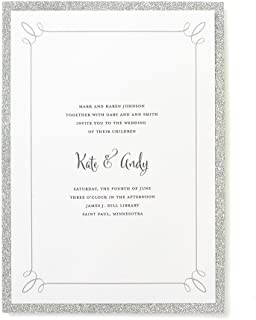 amazon com gartner studios silver glitter invitations 25 count with