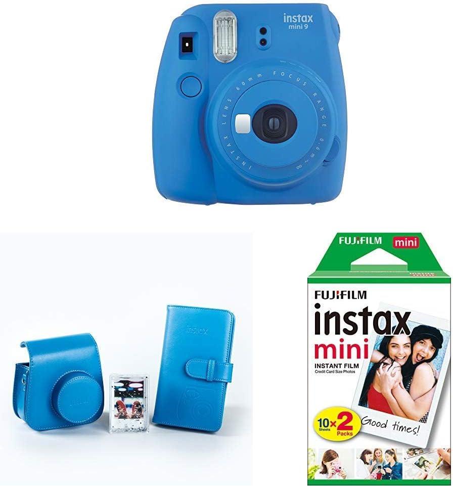 Fujifilm Instax Mini 9 - Cámara instantánea, Azul Marino + Kit de Accesorios (Funda Desmontable, Álbum 108 Fotos, Marco de metacrilato) Azul + Pack de 20 películas fotográficas instantáneas, blanco: Amazon.es: Electrónica