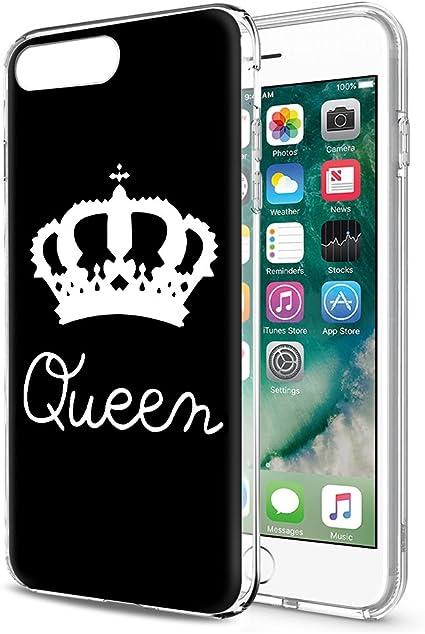 Eouine Cover iPhone 8/7, Custodia Silicone con Queen King Corona Disegni, Ultra Slim TPU Morbido Antiurto Bumper Case per Apple iPhone 8/7 (Queen, ...