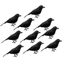 Flameer 10pcs Pájaros De Simulación Aves De Pluma Artificial Decoración De Boda Jardín, Negro