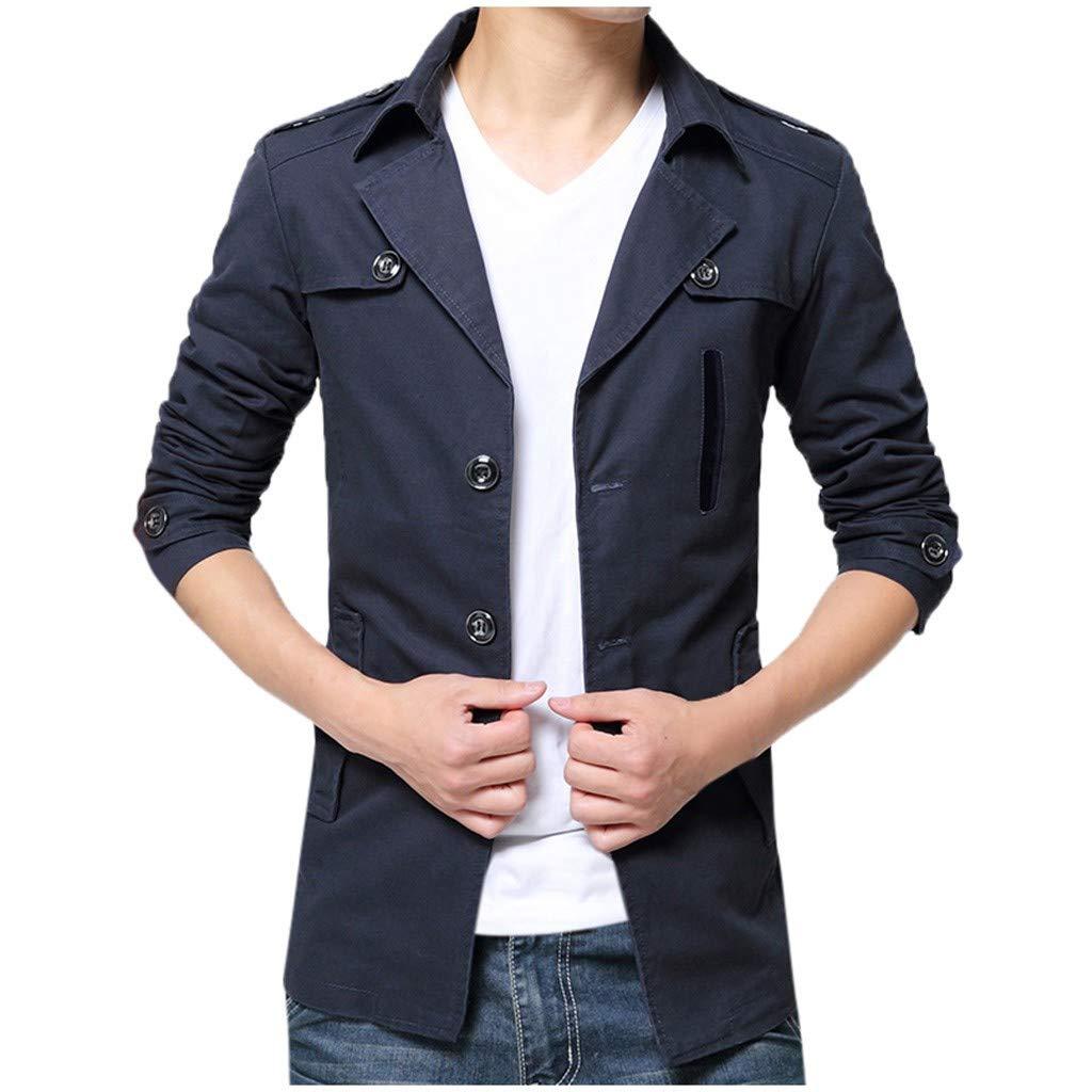 Men's Slim Fit Wool Blend Trench Coats Winter Warm Business Jacket Overcoat Outwear Classic Pea Coat Blue by SSYUNO
