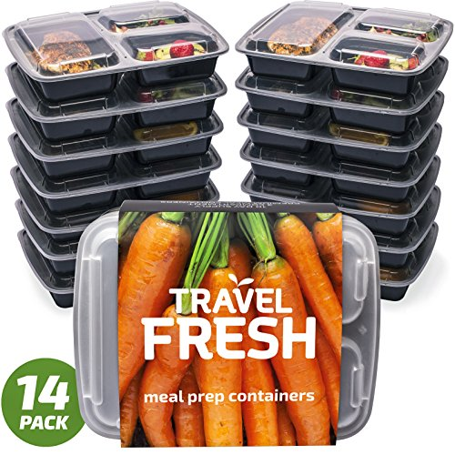 [14 PACK] Premium 3-Compartment Meal Prep Containers | Keep Your Food Fresh For Longer | BPA-FREE, Microwavable, Stackable, Dishwasher Safe With BONUS Recipe Subscription