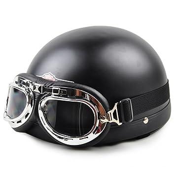 MATEROP Unisex New Summer Vintage Motocicleta Cascos Cara Abierta Media Moto y Casco de Gafas A9