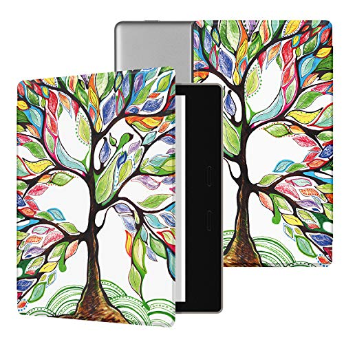 Ayotu Colorful Case for All-New Kindle Oasis (10th Gen, 2019 Release & 9th Gen, 2017), Premium PU Leather Cover with Auto Wake/Sleep, Strong Adsorption for 7''Kindle Oasis, Lucky Tree