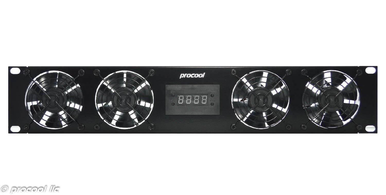 PROCOOL SP480TV-E / 2U Temperature Controlled Silent Rack Fan/Airflow= EXHAUST/Home Theater AV Cabinet Cooling Broadcast Server Recording Studio Rack Fan