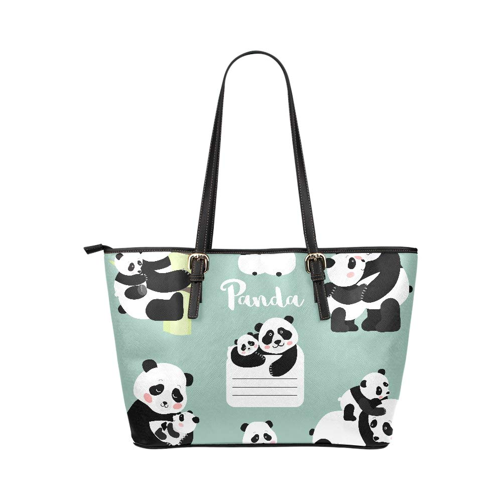 Cute Chinese Panda Souvenir Gift Large Soft Leather Portable Top Handle Hand Totes Bags Causal Handbags With Zipper Shoulder Shopping Purse Luggage Organizer For Lady Girls Womens Work