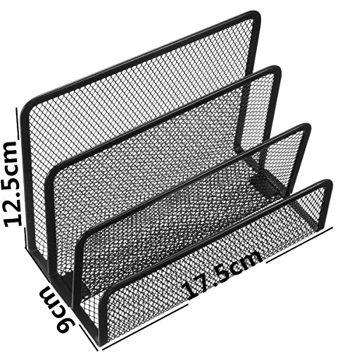 ThanaphatShop Black Office Barbed Wire Three-letter File Format Books Notepad Holder