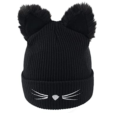 2a1ed298 Richoose Fashion Women's Winter Wool Cute Cat Ears Knit Beanie Hats, Black