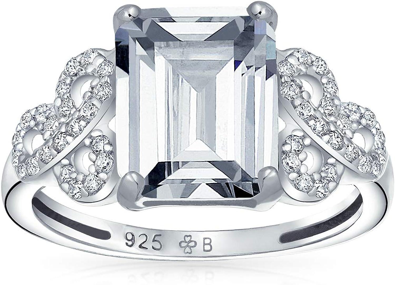 Bling Jewelry Filigranas De Pavimentar 925 Cubic Zirconia CZ AAA Amor Nudo Celta 3Ct Talla Esmeralda Solitario Anillo De Compromiso
