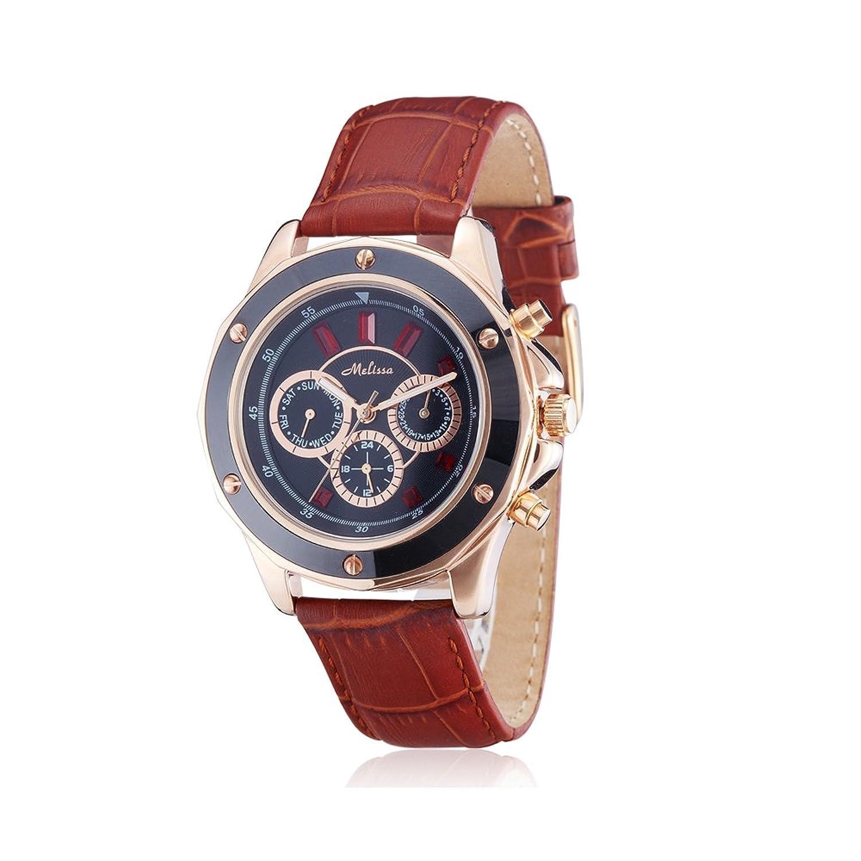 Uhr-Kristall Swarovski Elements Rot und Braun-Leder-Armband - Blue Pearls - CW 0038 M