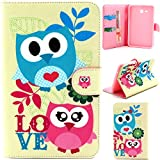 """T110 Case,Gift_Source [Slim Fit] Folio Leather Stand [Wallet] Shell Cover with Card Holder Compatible For Samsung Galaxy Tab 3 Lite 7"""" inch T110 Case,Love Owl"""