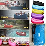 Findbest Outdoor Quick Inflatable Lounger, Lightweight Imitate Nylon Fabric Beach Lounger Convenient Compression Air Bag Hangout Bean Bag Portable Dream Chair (blue)