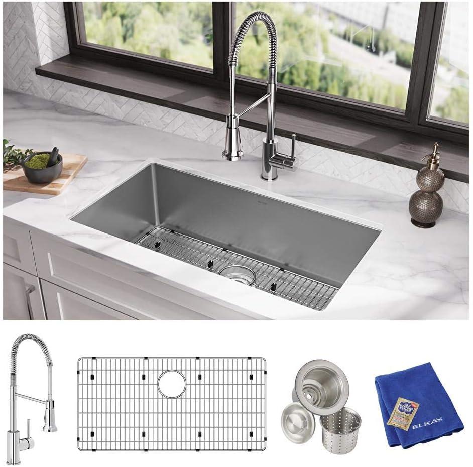Elkay Crosstown EFRU311610TFC 16 Gauge Stainless Steel 32-1 2 x 18 x 10 , Single Bowl Undermount Sink Kit with Faucet