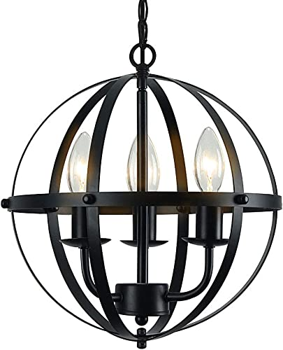 Lampundit 3 Lights Orb Chandelier Rustic Metal Pendant Light Black Industrial Ceiling Hanging Light Fixture for Indoor Kitchen Island Dining Living Room Farmhouse