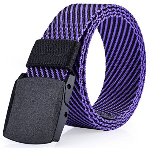 As You Like It, Men's Nylon Webbed Belt, No Metal Parts, Plastic Buckle, Quick Security Clearance, Casual Dress Belt,bt6a001pu, Style 1 Purple and Black, One Size, Fits All Pant Sizes Below 42