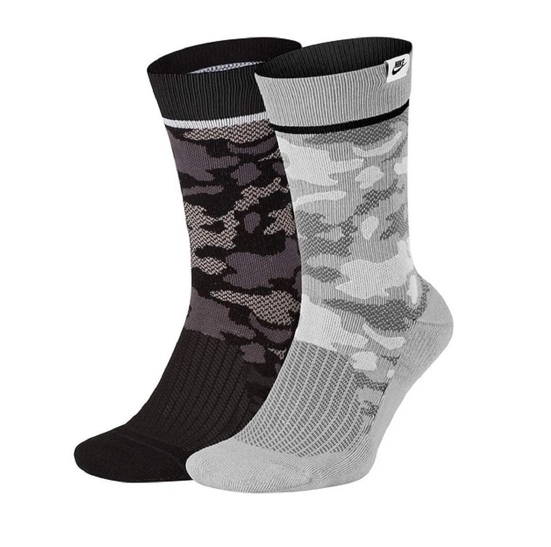 Nike Camo Crew - Calcetines (2 unidades) negro/gris L ...