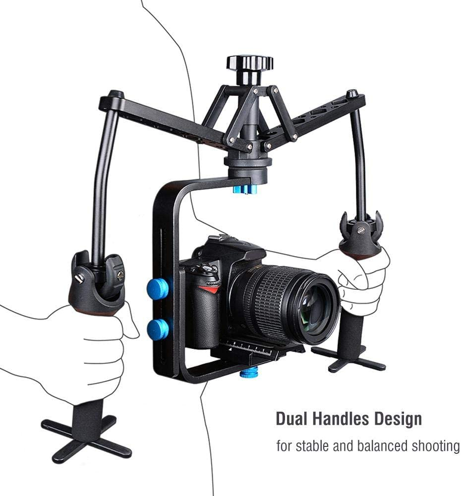 Handheld Stabilizer Lightweight Dual Handle Grip Extension Rotatable Holder Rig Accessory for Cameras Camcorder