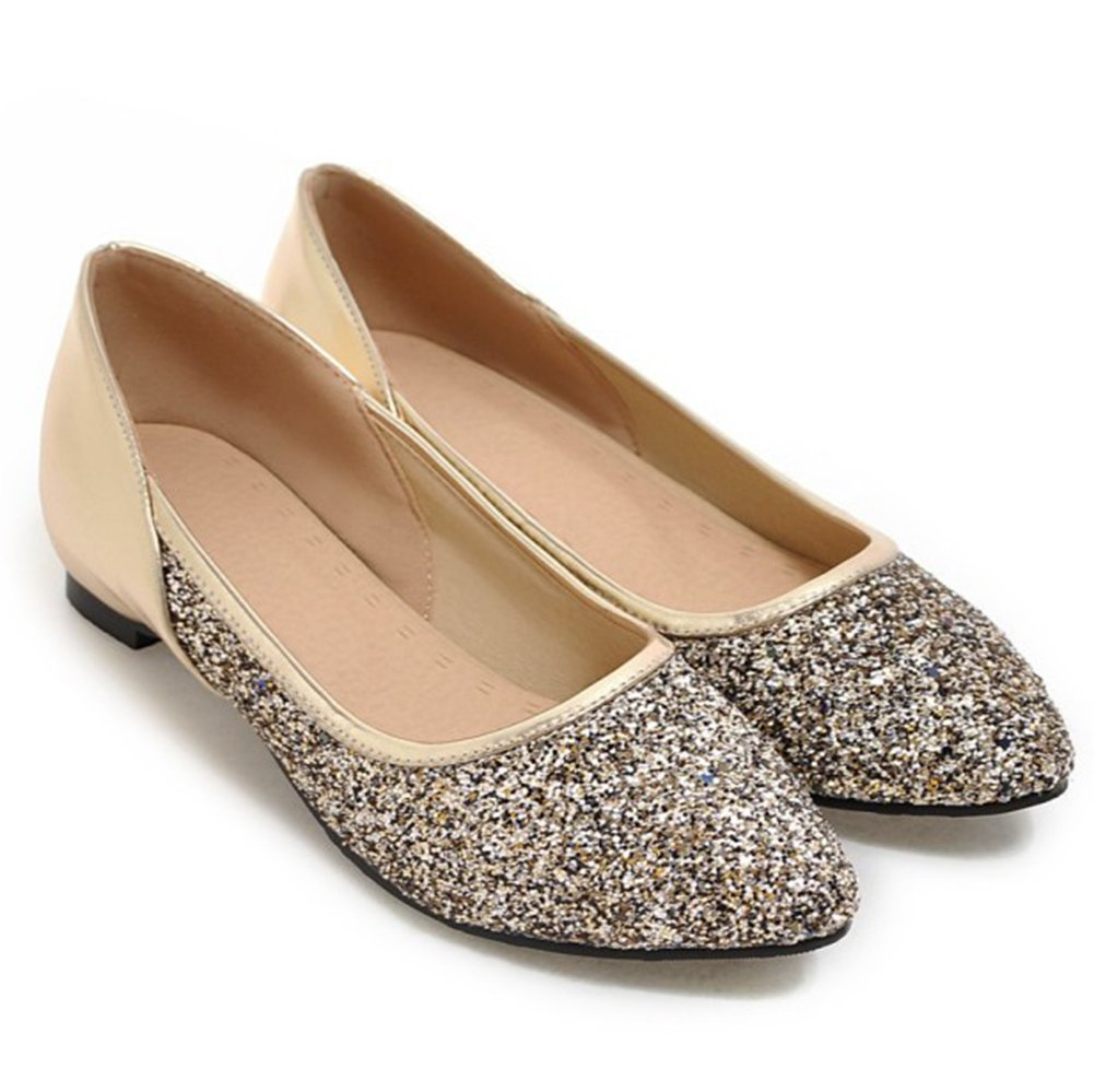 Aisun Women's Sparkly Sequins Low Cut Pointed Toe Dress Driving Cars Go Easy Slip on Flats Shoes B071WR9WXG 7 B(M) US|Gold