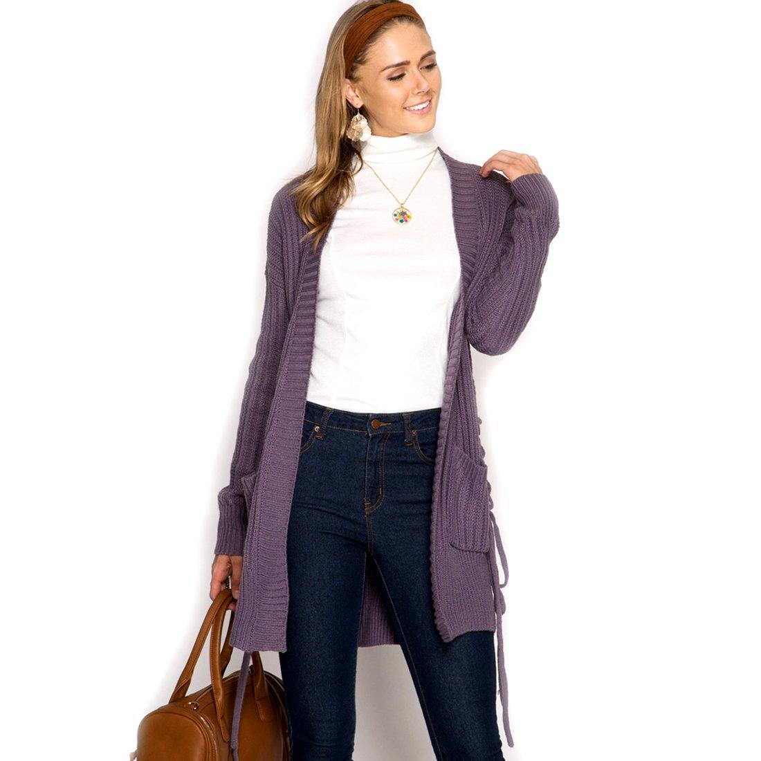 Sky Purple Grey Long Sleeve Sweater Cardigan w//Side Lace-up Pockets Medium She