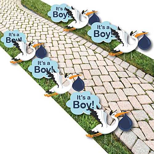 Boy Special Delivery - Baby Announcement Lawn Decorations - Outdoor Blue It's A Boy Stork Baby Shower Yard Decorations - 10 Piece
