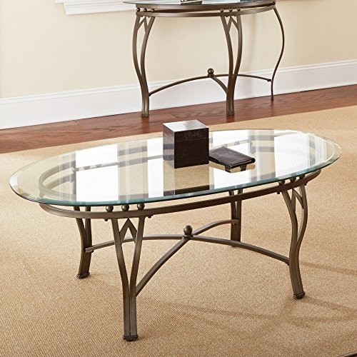 Steve Silver Madrid Oval Glass Top Coffee Table (Black Oval Cocktail Table)
