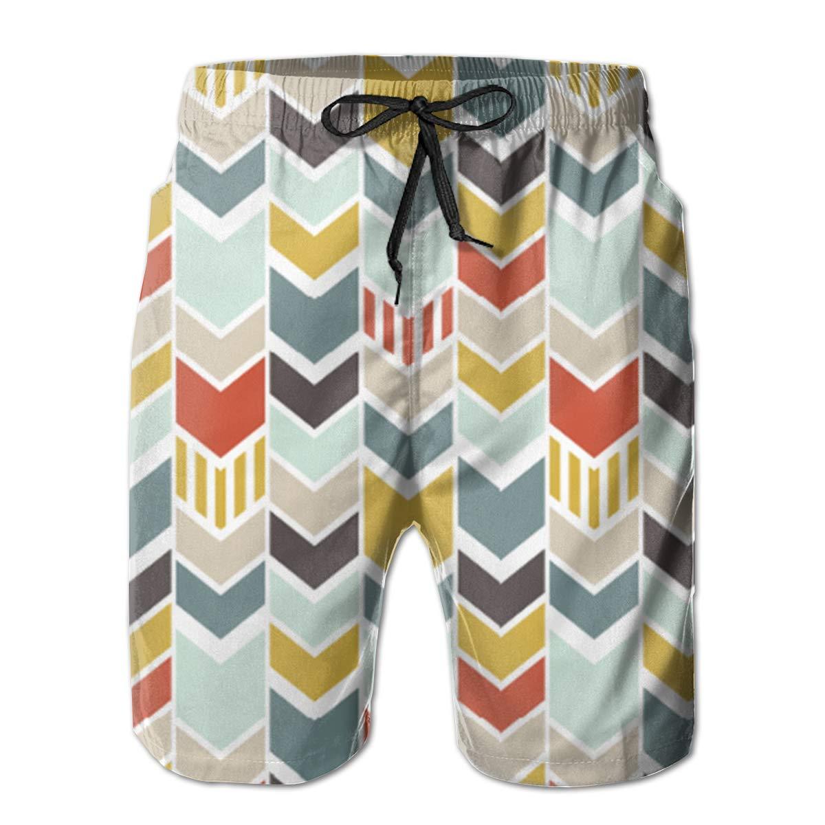 Colorful Chevron Mens Board Shorts Swim Mesh Lining and Side Pocket White