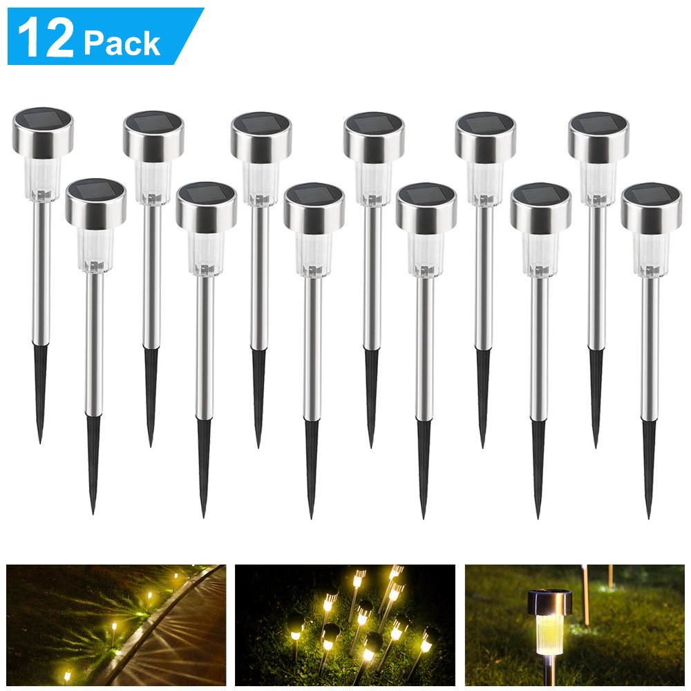 Hisome Warm White Solar Lights Outdoor - 12 Pack Solar Pathway Lights Stainless Steel Outdoor Landscape Lighting for Lawn/Patio/Yard/Walkway/Driveway (Warm White)