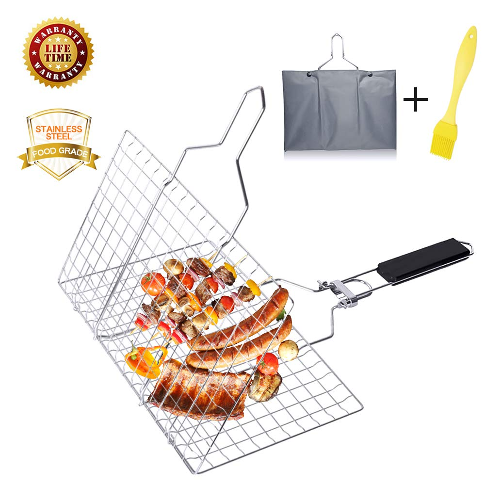 Aiflyme Portable BBQ Grilling Basket with Foldable Handles, Stainless Steel Barbeque Grill Basket with Storage Bag, Outdoor BBQ Tools for Meats, Fishs, Seafoods, Vegetables and Other Foods by Aiflyme