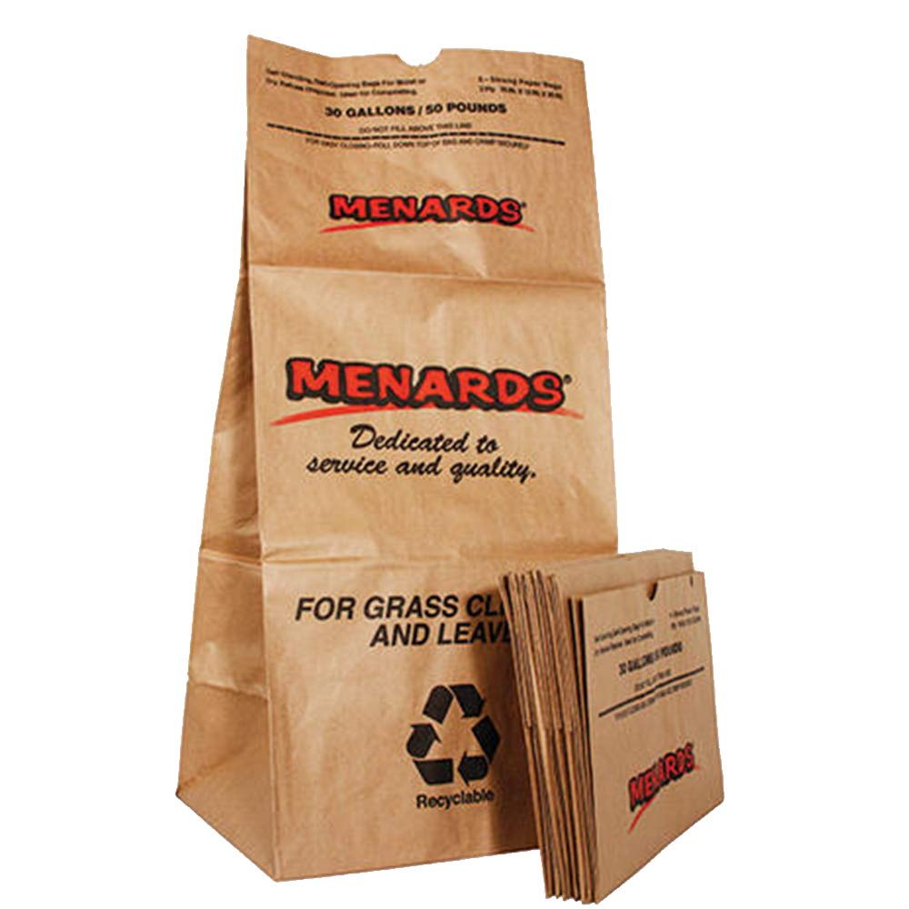Menards 30 Gallon 50 Pounds Strong Paper Lawn Bags 5-Pack