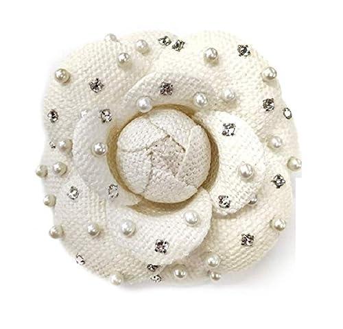 M&S Schmalberg Camellia Pearl and Swarovski Crystal Silk Fabric Flower Pin  Brooch - Hand-Made in New York's Garment Center (American Made) (Silk