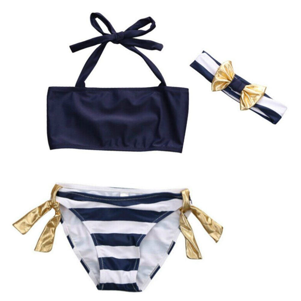 2 Style Infant Baby Girl Pure Blue Top Stripe Bottom Bowknot Headband Bikini Set