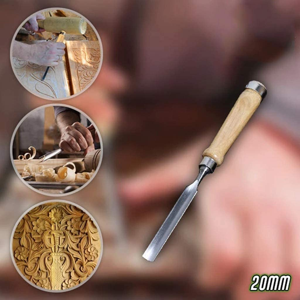 10MM, Silver DealinM Wood Carving Gouge Chisel,Wood Carving Tools Bowl Carving Carbon Steel Blade Wood Handle Radial Gouge Hard and Soft Woods