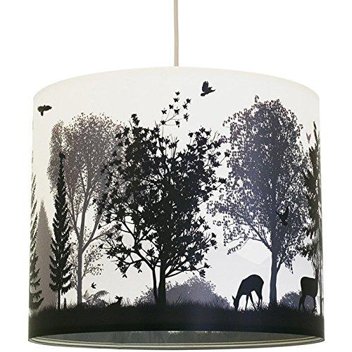 anna wand Lampenschirm QUIET REVOLUTION – Schirm für Lampen mit Wald-Motiv Grau/Weiß – Sanftes Licht für Tischleuchte/Stehlampe / Hängelampe im Wohnzimmer, Esszimmer, Schlafzimmer