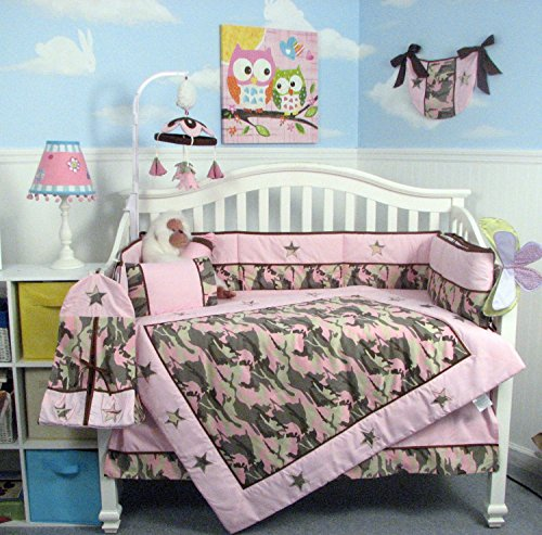 SOHO Pink Camo Baby Crib Nursery Bedding Set 13 pcs included Diaper Bag with Changing Pad & Bottle (Camo Baby Bottles)
