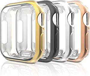 Leagway Case Compatible with Apple Watch 44mm iWatch Series 4, 4Pack Ultra-Thin Soft TPU Plated Plating Frame Bumper Clear Screen Protector All-Around Protective Scratch-Resistant Cover Case (44mm)