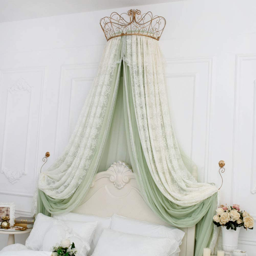 - Amazon.com: HOMEJYMADE Lace Princess Bed Canopy,Crown Dome