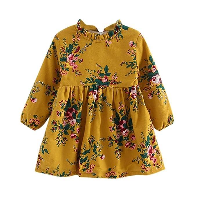 SMARTLADY 1 - 5 años Bebe Niñas Vestidos de Flores Manga larga Grueso Vestidos de fiesta