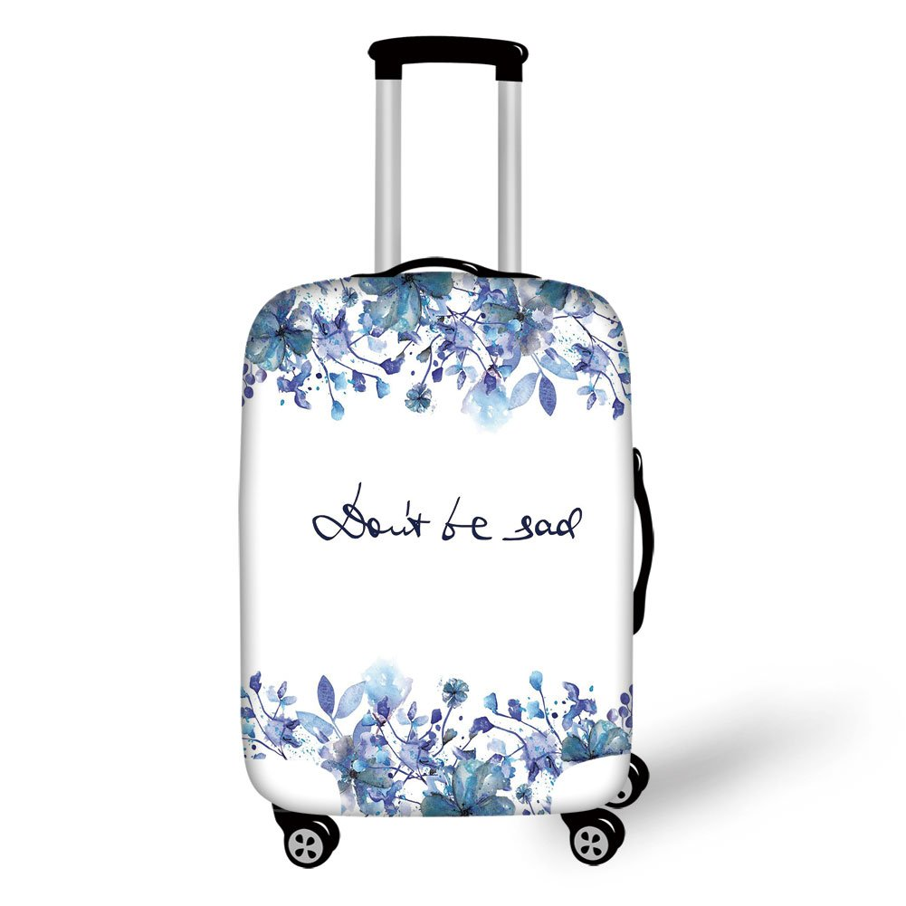Travel Luggage Cover Suitcase Protector,Watercolor,Blue Flowers and Branches with Leaves Natural Imagery Fine Art Theme Decorative,Royal Blue Light Blue,for Travel