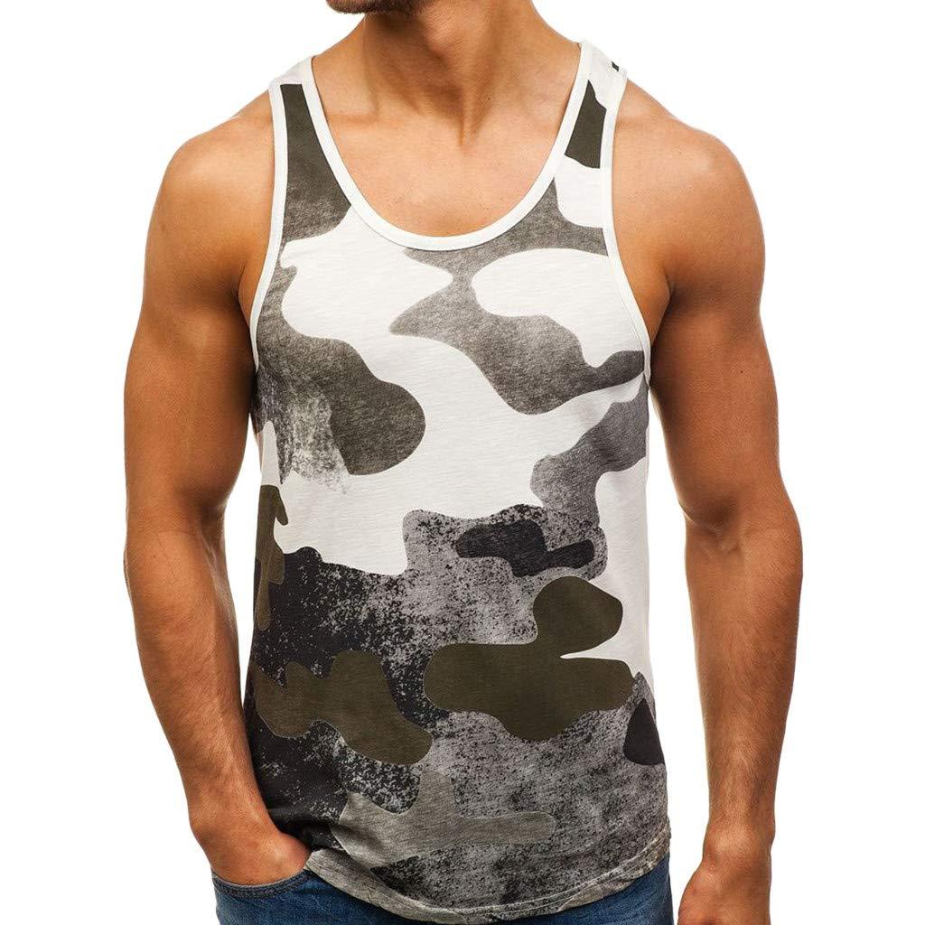 iZHH Men's Shirt Sleeveless Tank T-Shirt Patchwork Camouflage Bodybuilding Sport Fitness Vest