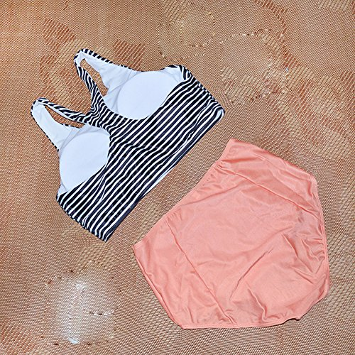 5afcf8dad04 Lashapear Women s Black White Stripe High Waist 2 Piece Bathing Suits  Bikini Swimsuit