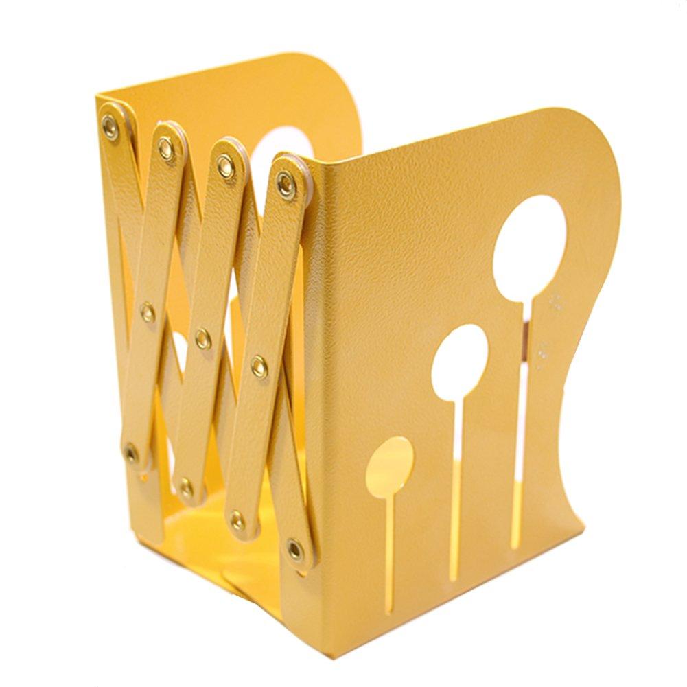 Creative Retro Scalable Book Stand Metallic Iron Bookends-Hollow Balloon (S, Yellow)