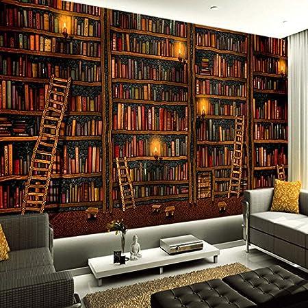 Lwcx 3D Wallpaper Classic Bookshelf Oil Painting Photo Mural Study Library  Living Room Backdrop Wall Home Decor 150X105CM     Amazon.com
