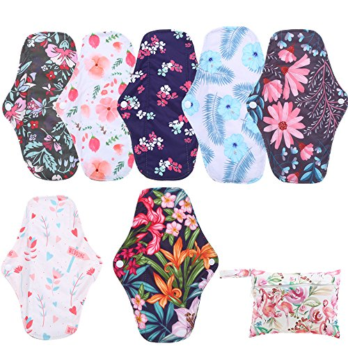 Simfamily 7 Pcs Menstrual Pad Set Including 1Pc Mini Wet Bag And 6Pcs Regular Flow Menstrual Pads Cloth Mama Sanitary Napkin Pads Resuable Waterproof