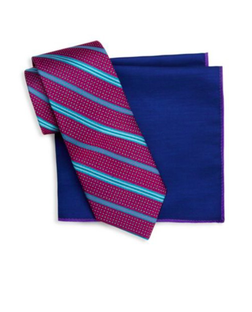 Ted Baker London Two-Piece Silk Tie and Pocket Square Set (Fuchsia Stripe)
