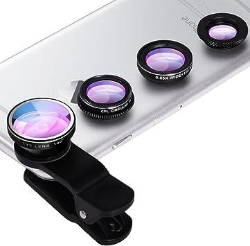 Lente para teléfono móvil, 4 en 1, lente universal para smartphone ...