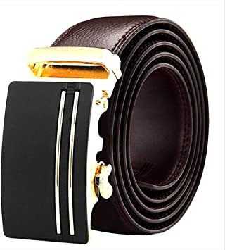 Men/'s Fashion Automatic Sliding Buckle Real Leather Ratchet Belt Waistband Jeans