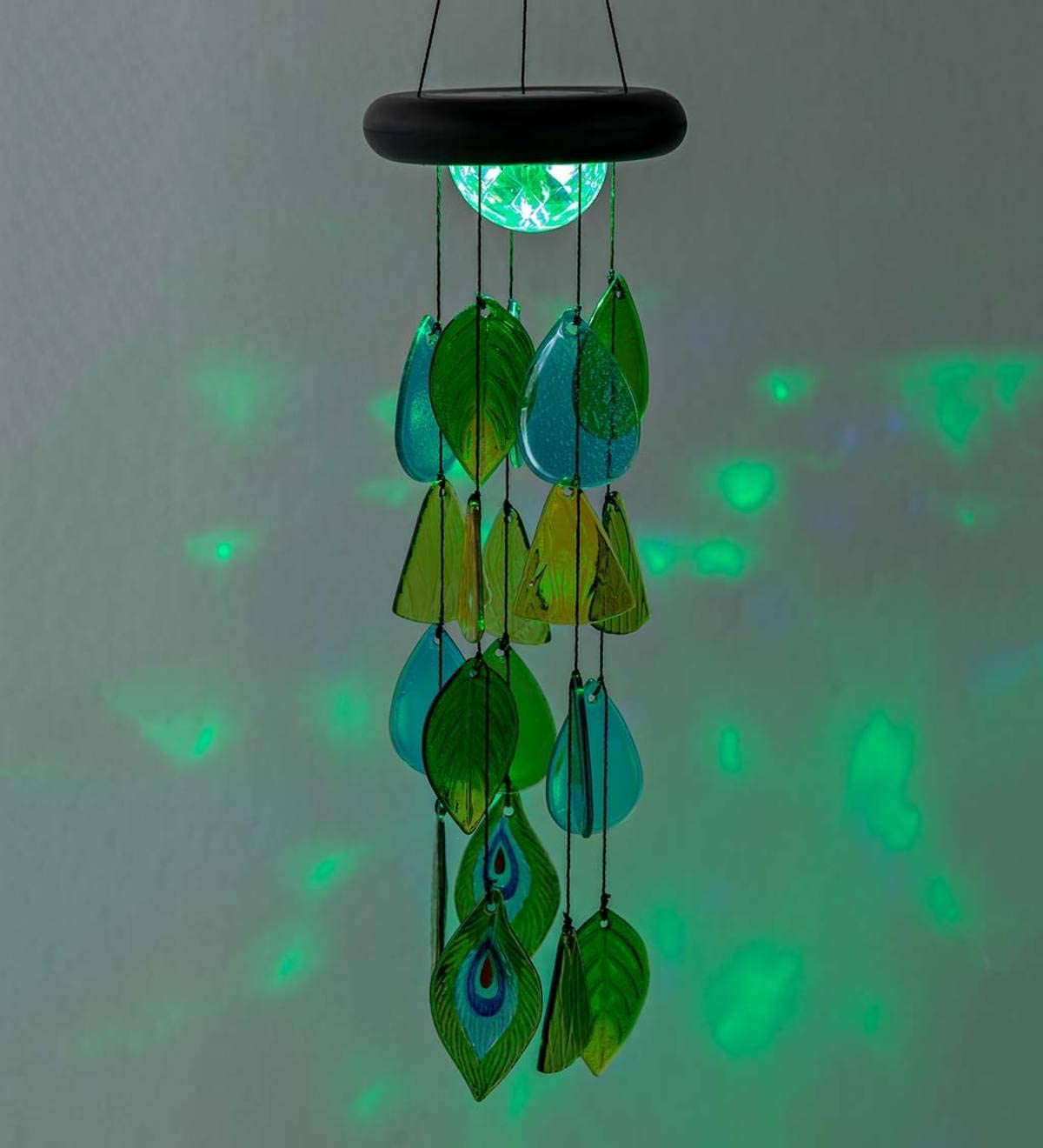 Solar Lighted Glass Leaves Wind Chime Mobile 7.5 Dia x 26.5 H